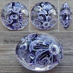 Beads Pictures, Lampworking, Glass Paperweights, Marbles, How To Make Beads, Periwinkle, Hand Blown Glass, Bead Art, Lampwork Beads