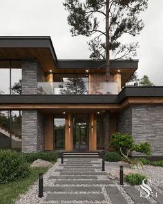 Modern Exterior House Designs, Modern House Facades, Modern Architecture House, Modern House Plans, Prairie Style Architecture, Tropical Architecture, Architecture Portfolio, Modern Houses, Amazing Architecture