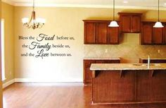 Bless The Food Before Us Family Beside Us & Love Between Us Kitchen vinyl wall lettering art home decor Family.....LOVE This for the kitchen!!!