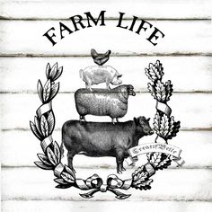 Vintage Farm Animal Stack Large Black and White Instant Digital Download…