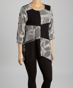 Another great find on #zulily! Black & White Patchwork Sidetail Tunic by Come N See #zulilyfinds