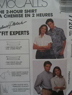 McCALL'S #7720 - UNISEX 2-HOUR PALMER / PLETSCH BUSINESS SHIRT PATTERN S-XXL uc #McCALLS