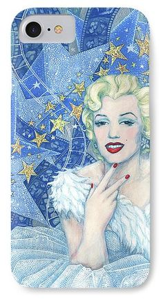 """Marilyn Monroe Phone Case Portrait from the """"Old Hollywood"""" series. Marilyn Monroe in white tulle dress and feather boa, a lot of little and big stars and celluloid films as a background. Blue, white, silver and light yellow colors. Artwork was inspired by Andy Warhol's portraits and Edmund Greene's photograph by Marilyn. Celebrity art, fine art portrait, acrylic painting. © Clipso-Callipso / Julia Khoroshikh #Marilyn, #Monroe, #hollywood, #contemporary, #art, #celebrity, #portrait"""