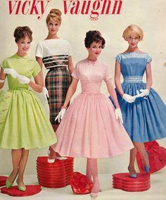 60s And 70s Fashion, Fifties Fashion, Fashion Now, Modest Fashion, Retro Fashion, Vintage Fashion, Vintage 1950s Dresses, Vintage Skirt, Vintage Ads