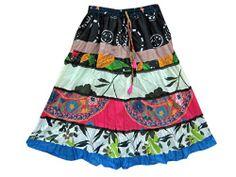 Womens Skirt Multi Color Patch Work Cotton Crinkle Boho Midi Skirts #mogulinteriordesigns @ http://www.amazon.com/dp/B00KNSREDK