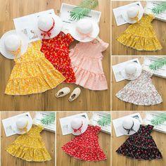 Toddler Baby Kid Girls Sleeveless Dot Holiday Princess Dress Bow Hat Outfits G0