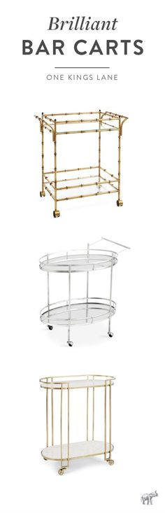 Perfect for easy entertaining, trying out new bar cart styling ideas, or for a modern alternative to plant stands and nightstands, we can't get enough of the versatile bar cart. Shop our favorite selection of glamorous gold, silver, wood and acrylic bar carts right here on One Kings Lane!