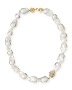 """Michael Aram 18k Diamond Botanical Leaf & Pearl Necklace, 16""""L $3,950.00 18-karat yellow gold. Naturally white, cultured baroque freshwater pearls. Integrated leaf pendant with diamonds, 0.442 total carat weight. Approx. 16""""L. Hook closure"""