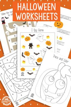 Halloween Printable Pack that will keep the kids busy for hours! Halloween Craft Activities, Halloween Worksheets, Halloween Printable, Halloween Crafts For Kids, Halloween Projects, Preschool Halloween, Printable Crafts, Free Printables, Halloween Class Party