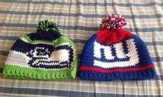 Crochet Seahawks and New York Giants infant hats go Seahawks