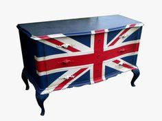 commode drapeau anglais vintage