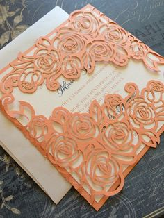 Laser Cut Wedding Invitations, Peony Wedding Invitations, Custom Personalized Invitations