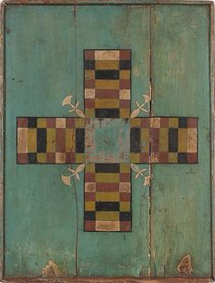 Parcheesi-style gameboard. US (possibly New England), turn-of-the-century. Painted and decorated