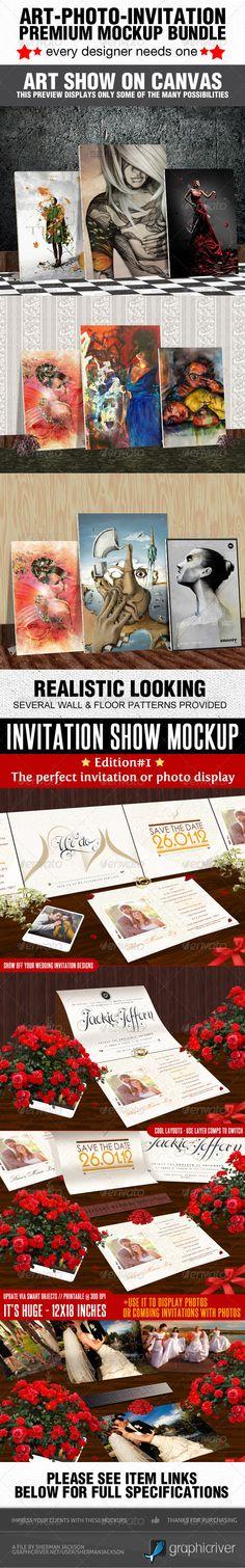Art Photo Invitation Mockup Templates - Photo Templates Graphics