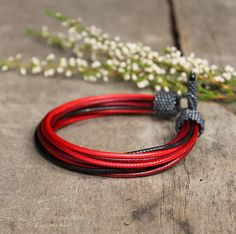 Multicolor bracelet for him - sporty bracelet for men - unique handcrafted men's jewelry - red black - gift for husband