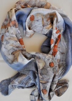 Natural Dye, eucalyptus leaves and logwood on fine merino wool - one of a kind scarf