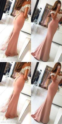 Pink Mermaid Dress,Lace Off the Shoulder Prom Dress,Custom Made Evening Dress, Long Prom Dresses