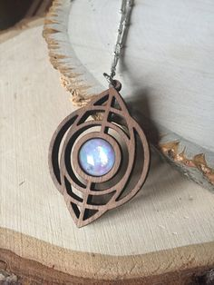 Gorgeous wood and opal pendant necklace