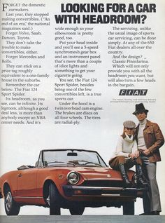 Now that Fiat is selling in the USA again, it's good to revisit this old ad for the Fiat 124.