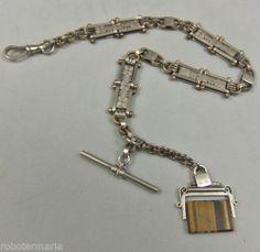 um 1910: ungewöhnliche, prachtvolle Taschenuhrenkette mit TIGERAUGE !   eBay