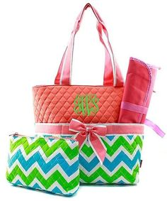 Personalized Lime & Aqua Chevron Quilted 3pc Diaper Bag - Coral
