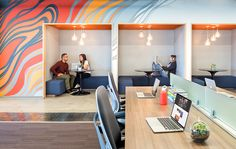 Large wall covering with abstract digital wall covering large format printed for office branding