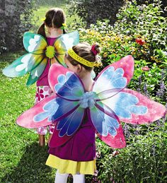 """One of Each 31"""" Lightweight Glitter Detailed Nylon Fairy Wings with Elastic Straps Set"""