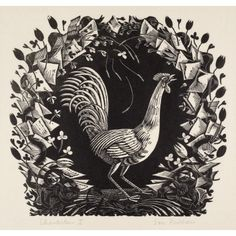 'Chanticleer II' by Eric Ravilious. This wood engraving was designed by Eric Ravilious for the cover of the Golden Cockerel Press Spring List, Auckland Art Gallery, Aberdeen Art Gallery, European Paintings, Chiaroscuro, Wood Engraving, Illustrations And Posters, Woodblock Print, Large Art, Printmaking