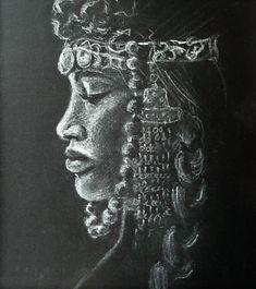 Portrait in white pastel on black paper. Paper Artist, Black Paper, Art Studies, Graphite, Colored Pencils, A4, Graphic Art, Charcoal, Pastel