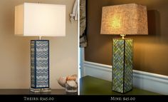 Square table lamp with rectangle shade based on the Chevron Column Table Lamp from Shades of Light-- 45.00 vs. 345.00