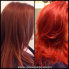 "Major red color correction by Robin! This client wanted a bright true red hair color & came in with very patchy, washed out, red violet color she called ""cherry cola"". Robin did a clarifying treatment, then a mild prelightening using Wella Blondor & 1.9% to even out the base & lift up to a level 7 (orange), before drying & applying her new color! Formula & more tips will be posted with the next pic!! #salonheadcandy #njhair #nofilter #beautiful #brighthair #brightred #cherryhillnj"