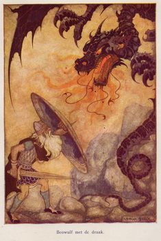 "Anton Pieck - Illustration of Beowulf from ""Heroes Of Mankind,"" 1941"