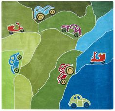 Kids rug 140x140 cm Mountain Car for playing Special Price: Amazon.de: Kitchen & Home