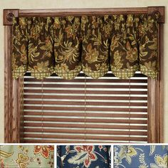 right colors - questionable print Barano Jacobean Bradford Valance - navy 15X74 $36 Touch of Class