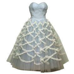 Vintage 1950's Powder Blue Tulle Prom Dress