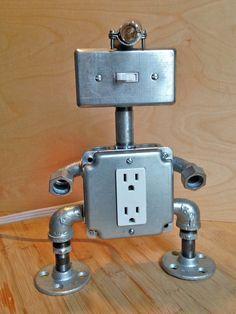 Robot Lamp head light by JosephBarral on Etsy
