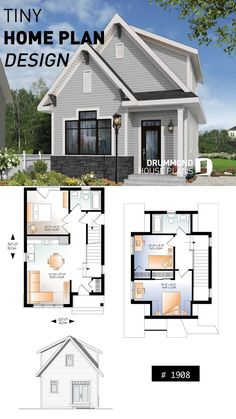 Small House Plans with One Bedrooms gable roof - House Design - Country small and affordable starter home plan, 2 to 3 bedrooms, 9 foot ceiling, lots of natural lights Sims House Plans, Modern House Plans, Cottage House Plans, Craftsman House Plans, Cottage Homes, Craftsman Style, Small House Design, Modern House Design, Starter Home Plans