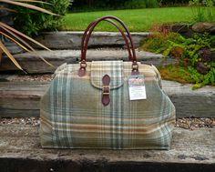 Tweed Carpet Bag Mary Poppins Bag wool tweed tartan overnight weekend bag with real leather handles and buckle fastener