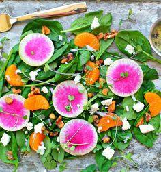 Watermelon Radish Salad with Mandarins and Candied Walnuts Header