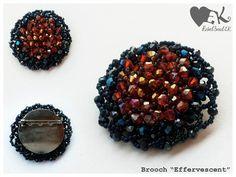 handmade blue brooch crystal brooch seed bead pin by RebelSoulEK