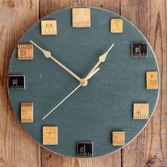 Dark Green Wall Clock with Vintage Wooden Rulers