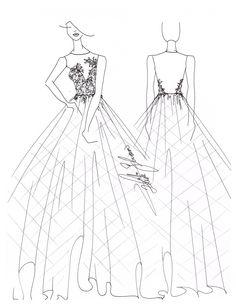 Croqui Vestido De Noiva Saia Com Babados E Detalhe Em