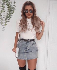 coole outfits Blue Denim Distressed Diva Jean Minirock, The History of Denim Skirt Outfits, Legging Outfits, Outfit Jeans, Girly Outfits, Mode Outfits, Outfits For Teens, Trendy Outfits, Fashion Outfits, Fashion Trends