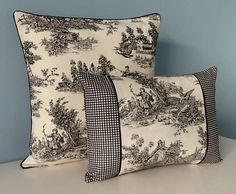 Classic black and ivory lumbar toile pillow cover. French country decor. This pillow cover features a bucolic farm scene on 100% cotton toile