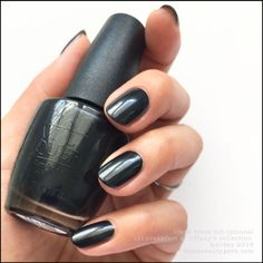 """OPI """"Black Dress Not Optional"""" from its Breakfast at Tiffany's Collection 2016. Pretty, charcoal grey. Nice satin finish...or throw top coat on it."""