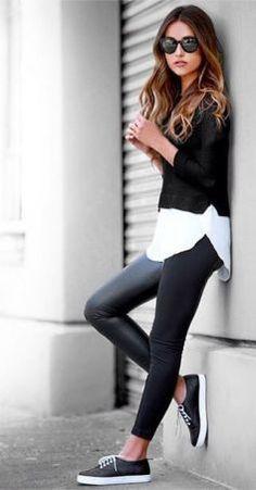 Total look noir   Sneakers Tendance Mode Automne 2017 1a605fe34e2