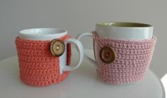 Cute coffee mug cozy tutorial and crochet pattern with photos to show you what your progress should look like along the way.