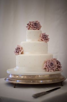 Tiered amnesia rose wedding cake by Bath Baby Cakes, via Flickr