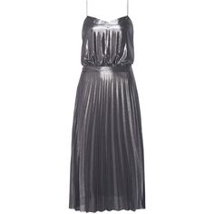 Tommy Hilfiger Jazz Metallic Chiffon Dress, Castlerock ($265) ❤ liked on Polyvore featuring dresses, cocktail party dress, long-sleeve mini dress, blue party dress, blue dress and blue maxi dress