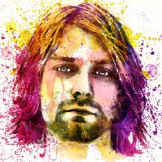 Awesome printable watercolor portrait of Kurt Cobain dedicated to those who will never forget his music.